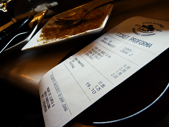 Receipt for Tapas N Wine