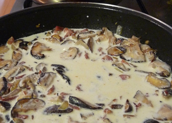 Cream added to the Mushrooms, Pancetta and Shallots