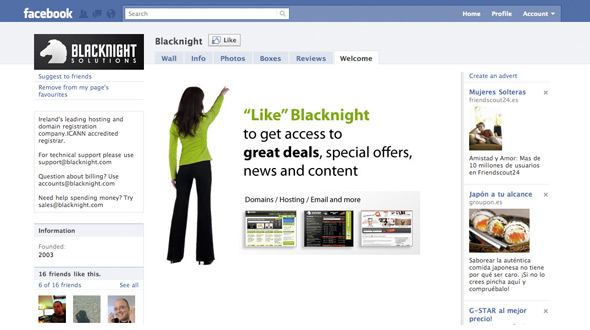 The Blacknight Facebook Landing Page